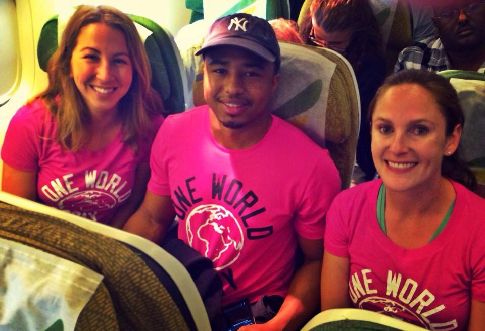 The One World Today Team on their way to Uganda - L to R: Roxanne Turner, Jerome Touchstone, Brittany Burnside