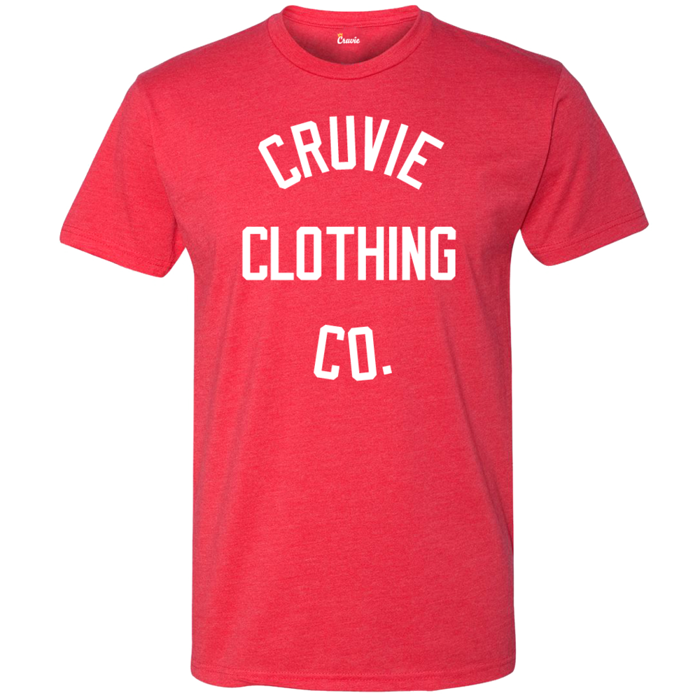Men 39 s red tight knit t shirt cruvie clothing co for The red t shirt company