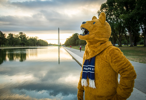 20150920 Penn State Nittany Lion DC at the Lincoln Memorial, Vietnam Memorial, and the Washington Monument. 