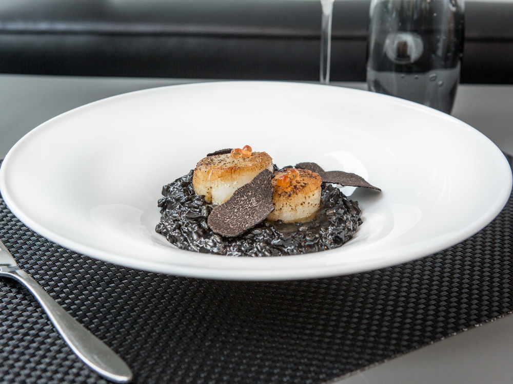 Theo's Restaurant and Oyster Bar_Pan Seared Scallop and Squid Ink Risotto -6.jpg