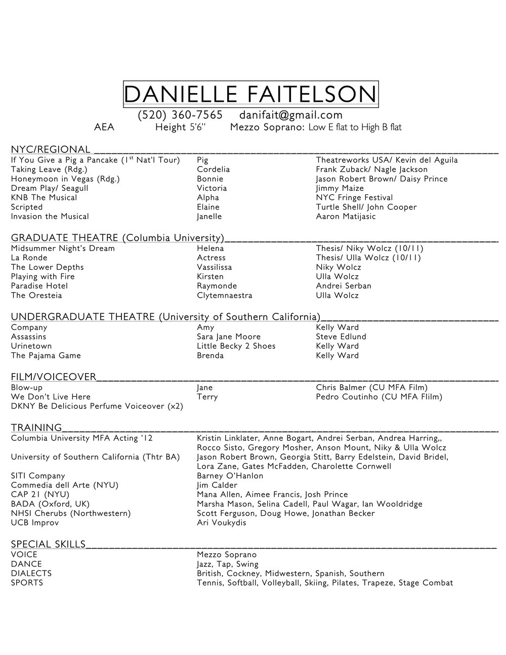 danielle faitelson columbia actors graduate