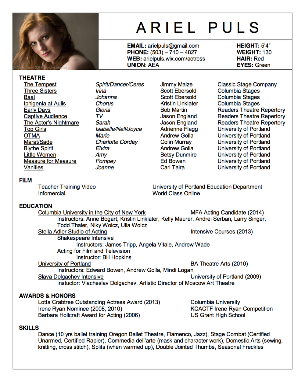 click this image for the pdf resume - Acting Resume