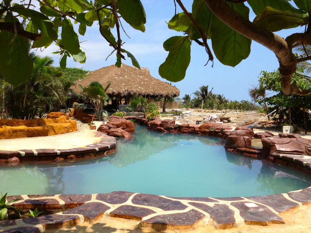 Canoa Beach Hotel, Canoa Ecuador, pool has been filled