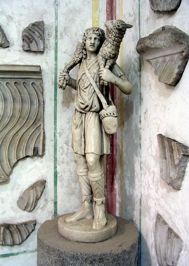 The Good Shepherd, c. 300-350, at the Catacombs of Domitilla, Rome   By Dnalor 01 - Own work, CC BY-SA 3.0, under wiki common license