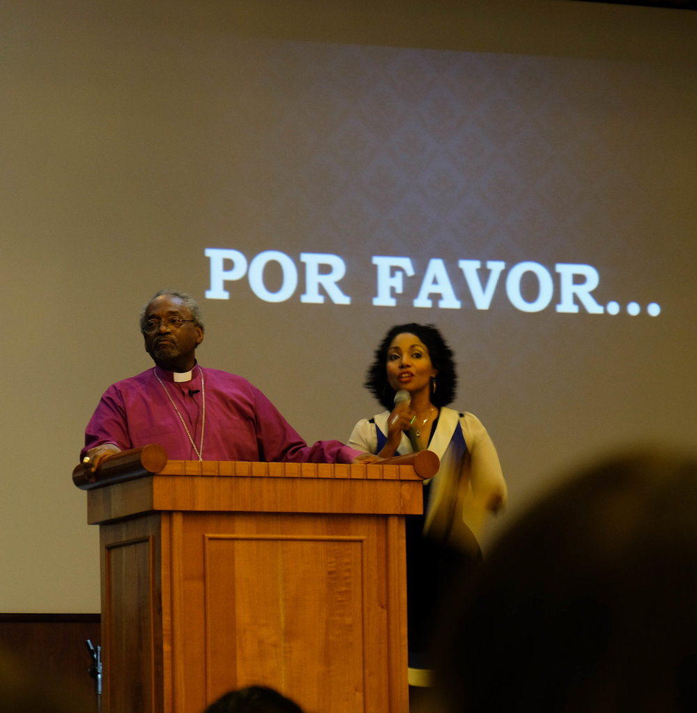 Presiding Bishop Michael Curry and interpreter Dinorah Padro, April 7, 2018