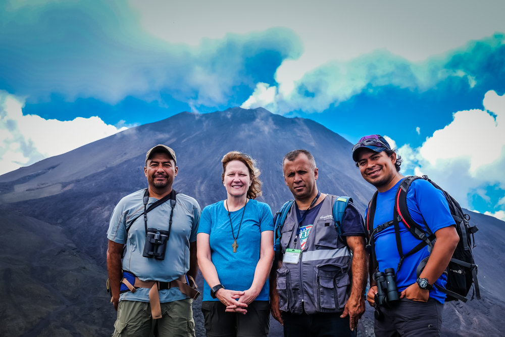 Agatha and guides on Vulcán Pacaya, Guatemala