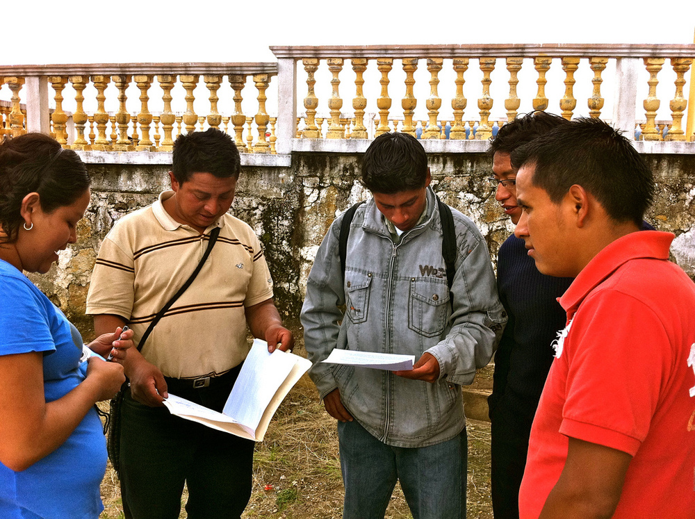 Guatemala Country Coordinator Alice begins to assess the needs of a community by speaking with village and school leaders - From Pencils of Promise's site
