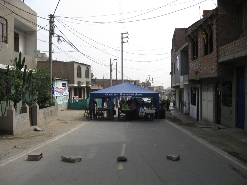 There was no clinic site set aside for us. At the suggestion of the local vendors, we blocked off the street.