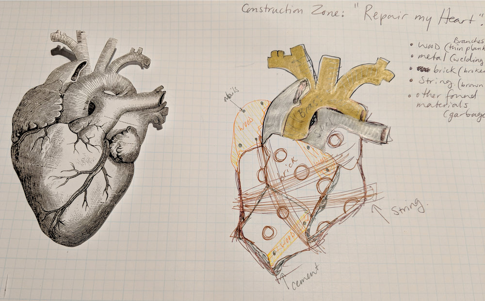 The original sketch of my 'Rubble Heart'.