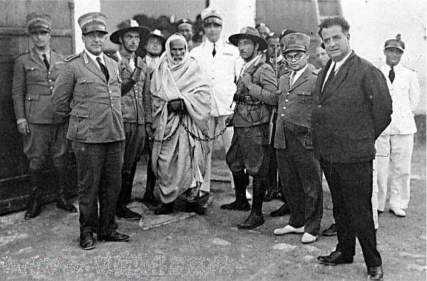 Omar Mukhtar imprisioned by Fascist Italians