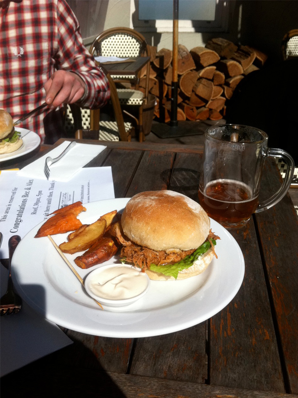 Saturday  – Mid-moving, sat down at the Local Taphouse and smashed a few super-tasty beers and this amazing pulled pork burger.