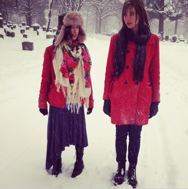 my roomies, The Feral Bitches, at our neighborhood graveyard during the last Boston blizzard