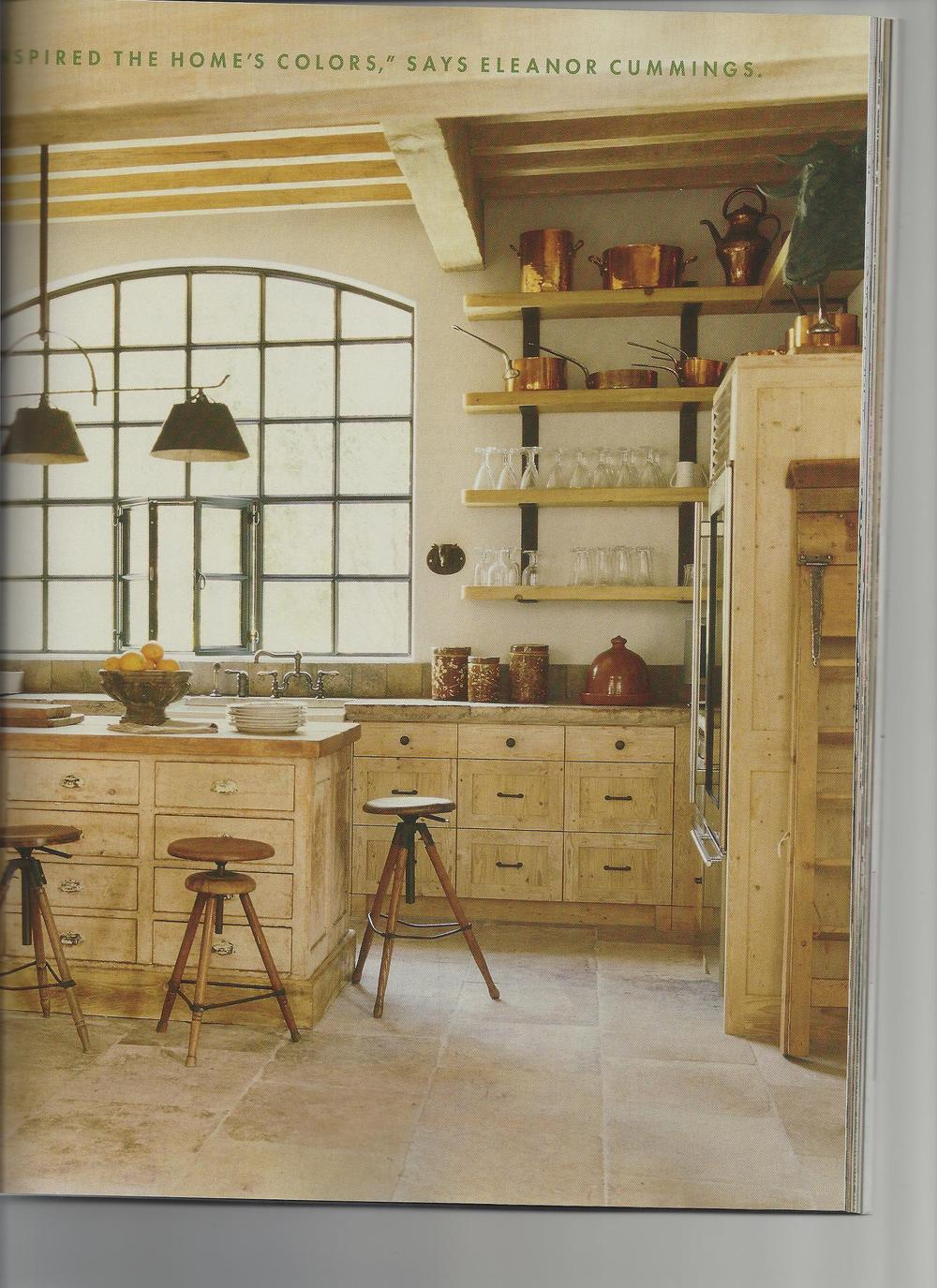 This is a great kitchen designed by Eleanor Cummings...but with no over hang...we probably wouldn't add bar stools at all...or maybe just one?  It's personal preference but this looks and feels awkward to me...where do you put your knees?...and do you just feel like you are sitting out in the middle of the room completely unrelated to anything?  Love the stools though...