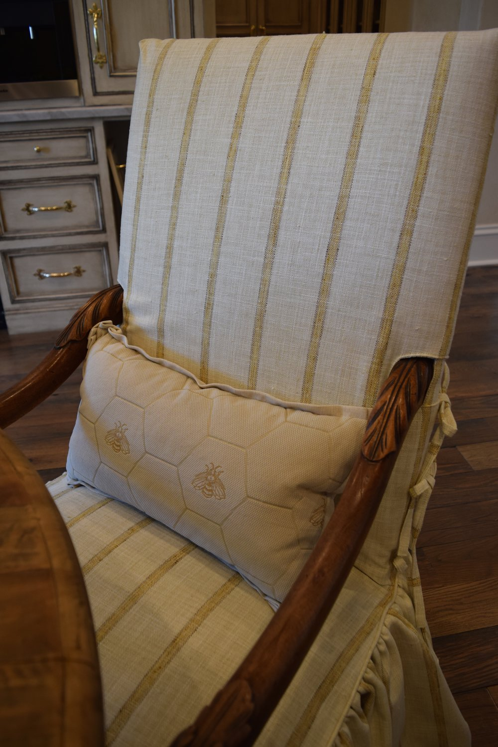 Chairs slipcovered in  Pindler Fabric
