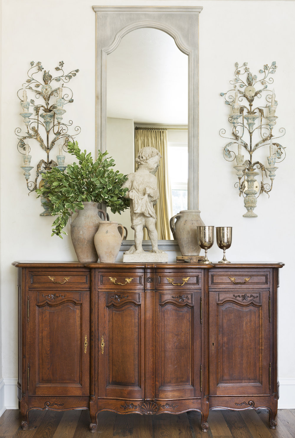 Antique Sideboard and Pair of Sconces from Round Top,