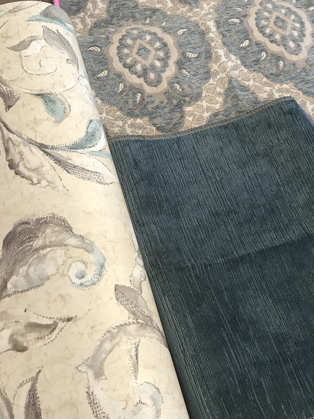 Medallion Study Sofa Fabric, Blue Velvet Study Chair fabric, Study Bathroom Wallpaper