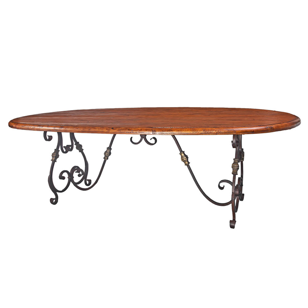"Breakfast Room   Oval Rustic Table - 96""x48""x30"""