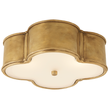 Large Flush Mount in Natural Brass with Frosted Glass - Visual Comfort