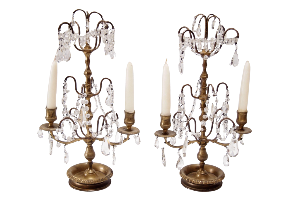 Crystal Two Light Candelabra - Chairish