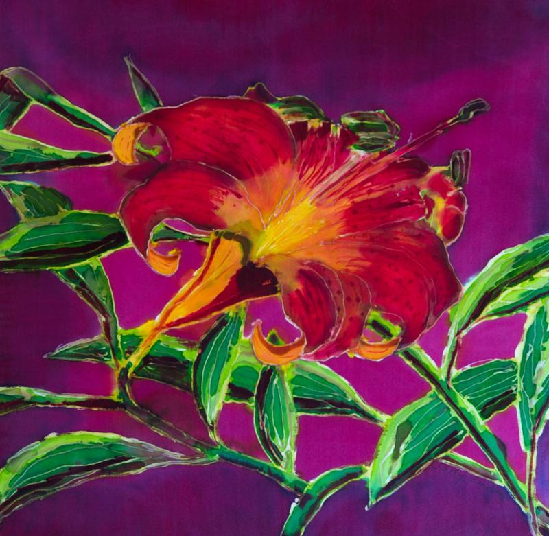 """Orange Day Lily  1998, 16""""x16""""  $240"""