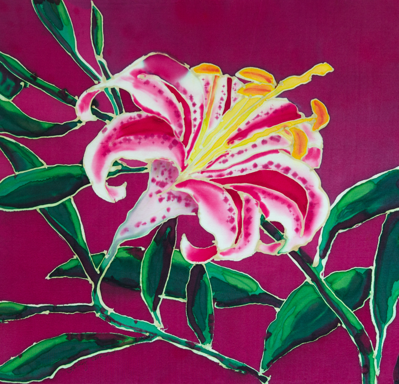 "Pink Day Lily  1998, 16""x16""  $240"