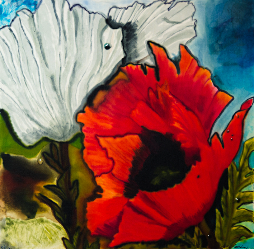 "Poppy with White Flower  2012, 16""x16""  NFS"