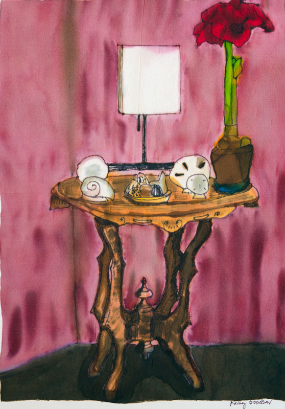 "Table with Red Amarylis  2011, 12""x16""  $165"