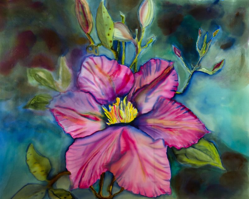 "Pink Clematis  2012, 26""x22""  SOLD"