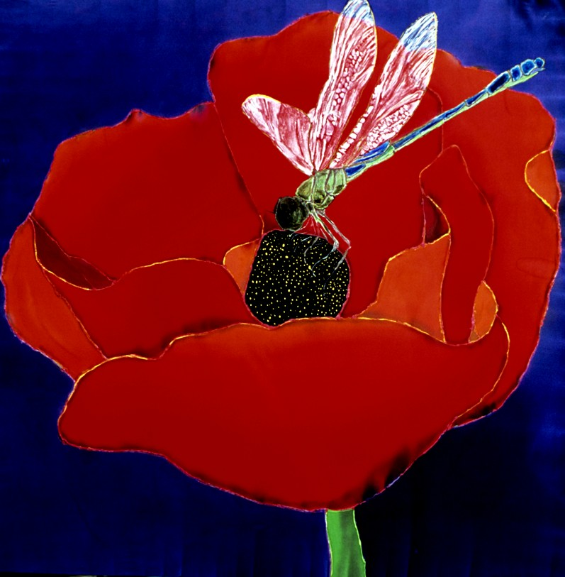 "Red Poppy with Dragonfly  1998, 50""x50""  $1600"