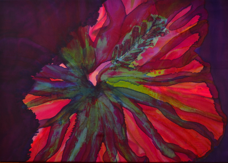 "Hibiscus Abstraction    2014, 28.5""X 22""    $595    SOLD"