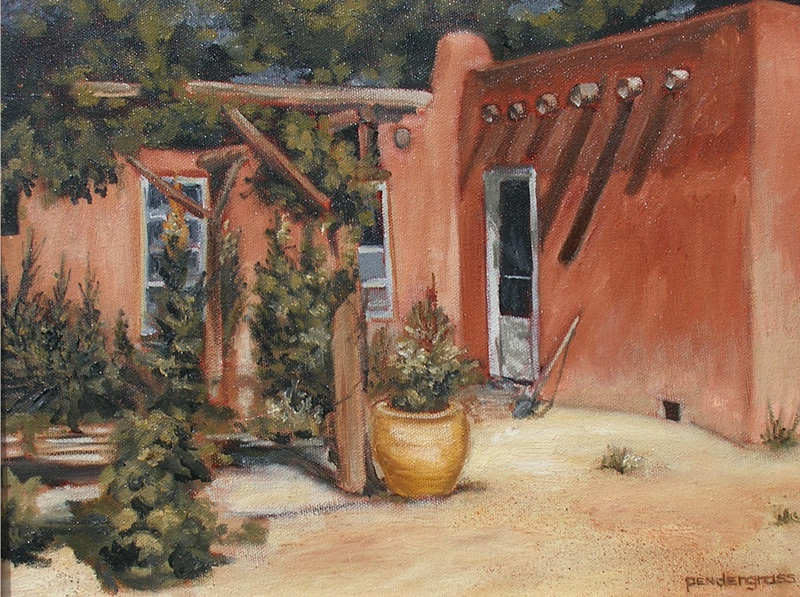 """Adobe Courtyard"" Oil 11"" x 14""    SOLD"