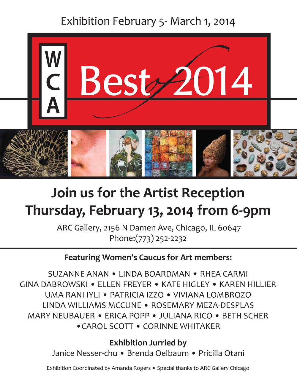 Women's Caucus for the Arts Best of 2014 February 5, 2014- March 1, 2014.  ARC Gallery, Chicago, IL