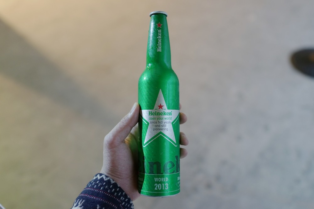 Aluminum Heineken bottle.