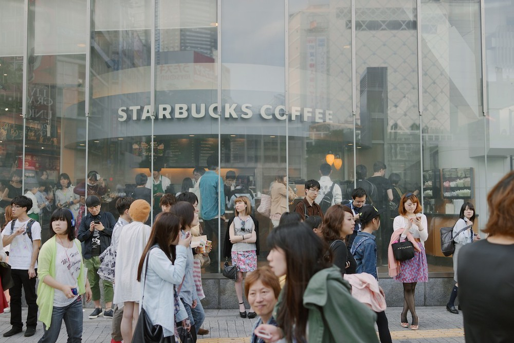 A flagship Starbucks store at the crossing.