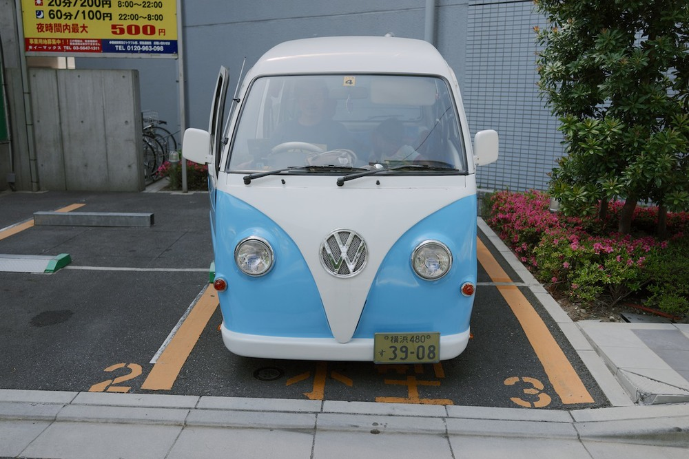 A Subaru Sambar modified into a VW Type 2 imitation.