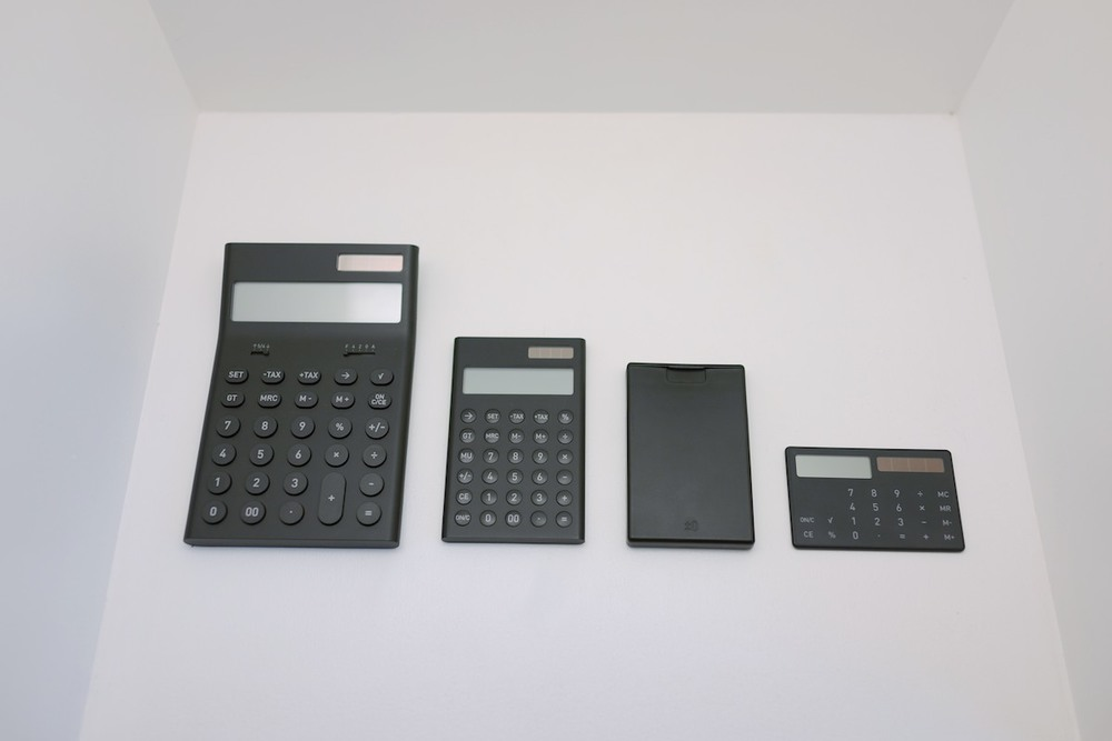 Calculators on display.