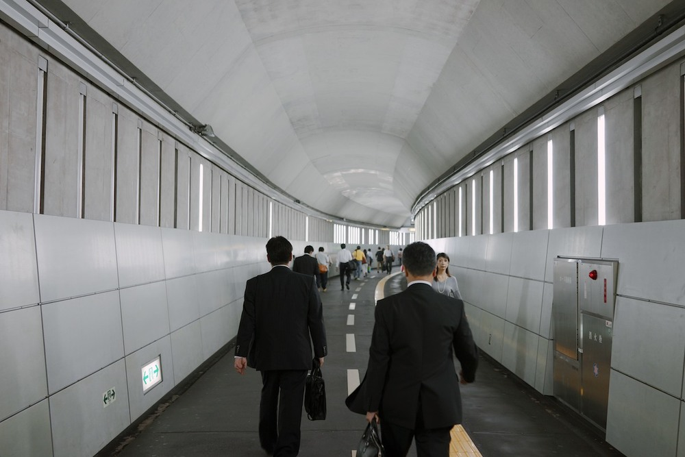 Passageway at Iidabashi station.