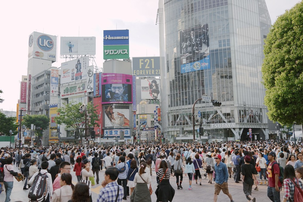 The Shibuya crossing at day.