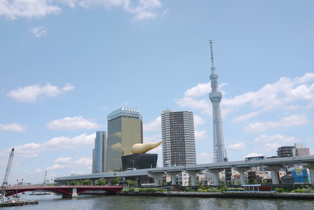 That strange looking gold/black building is the famous Asahi Beer Hall designed by Philippe Starck.
