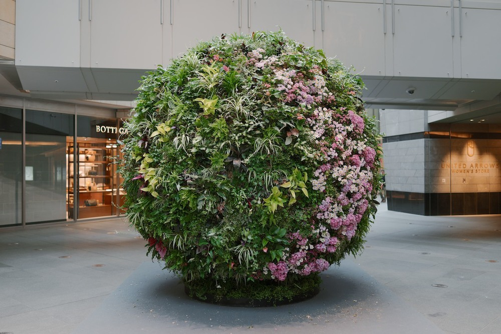 A sphere of live plants at a mall in Roppongi.