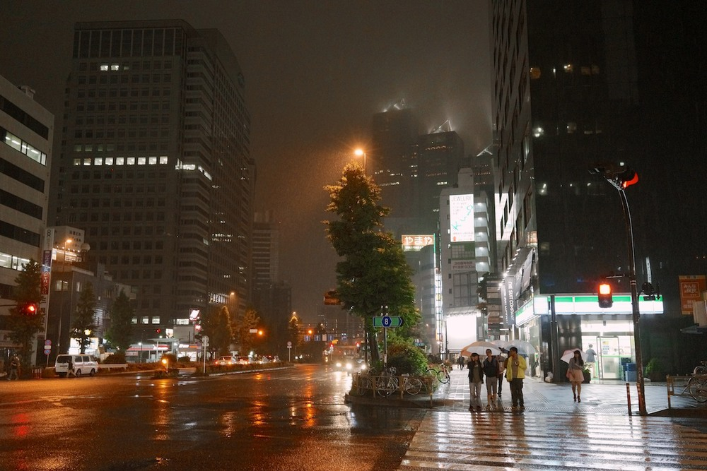 A rainy night in Shinjuku.