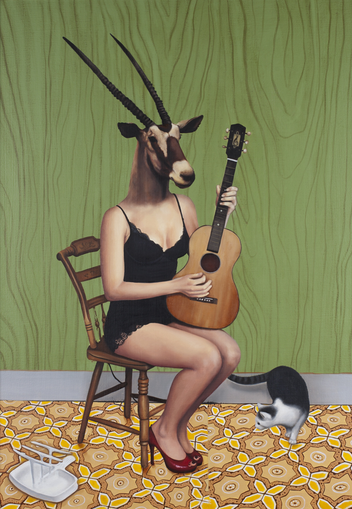 """Harmony. It's a Kind of Guitar"", 2012, acrylic and oil on canvas, 20 x 28"""