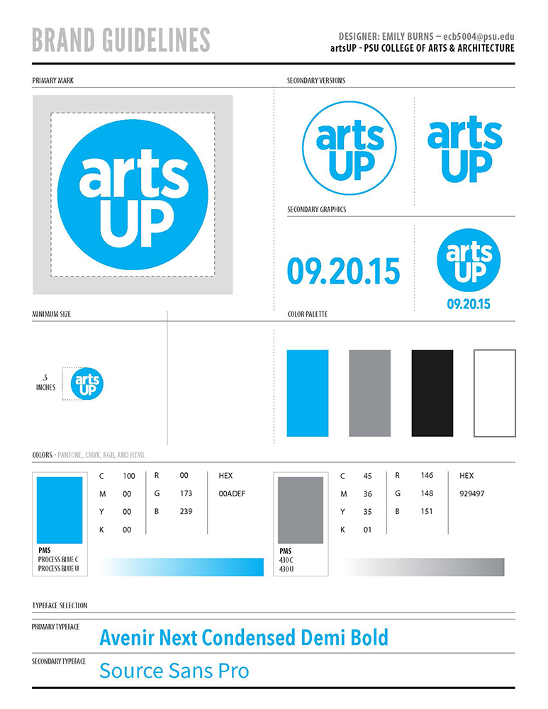 artsUP Identity Design: Brand Guidelines