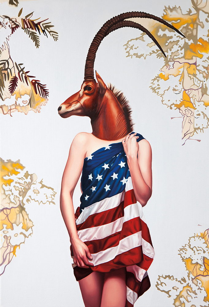 Like an American, 2013, oil on canvas, 22 x 32 inches