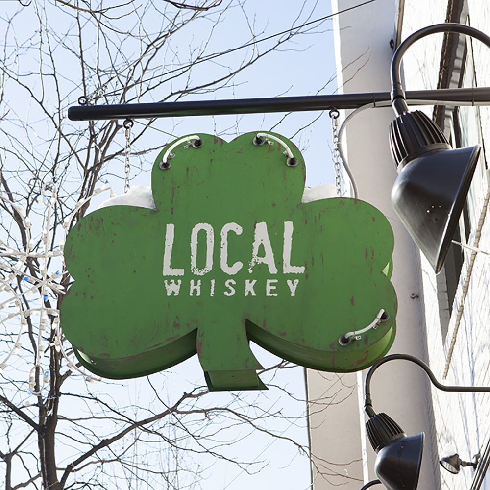 Local Whiskey: Design of primary mark and hand-painted sign