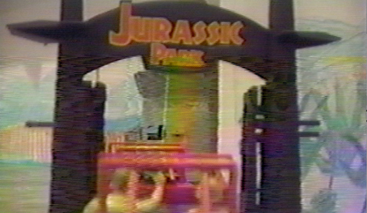 The Jurassic Park main gate.