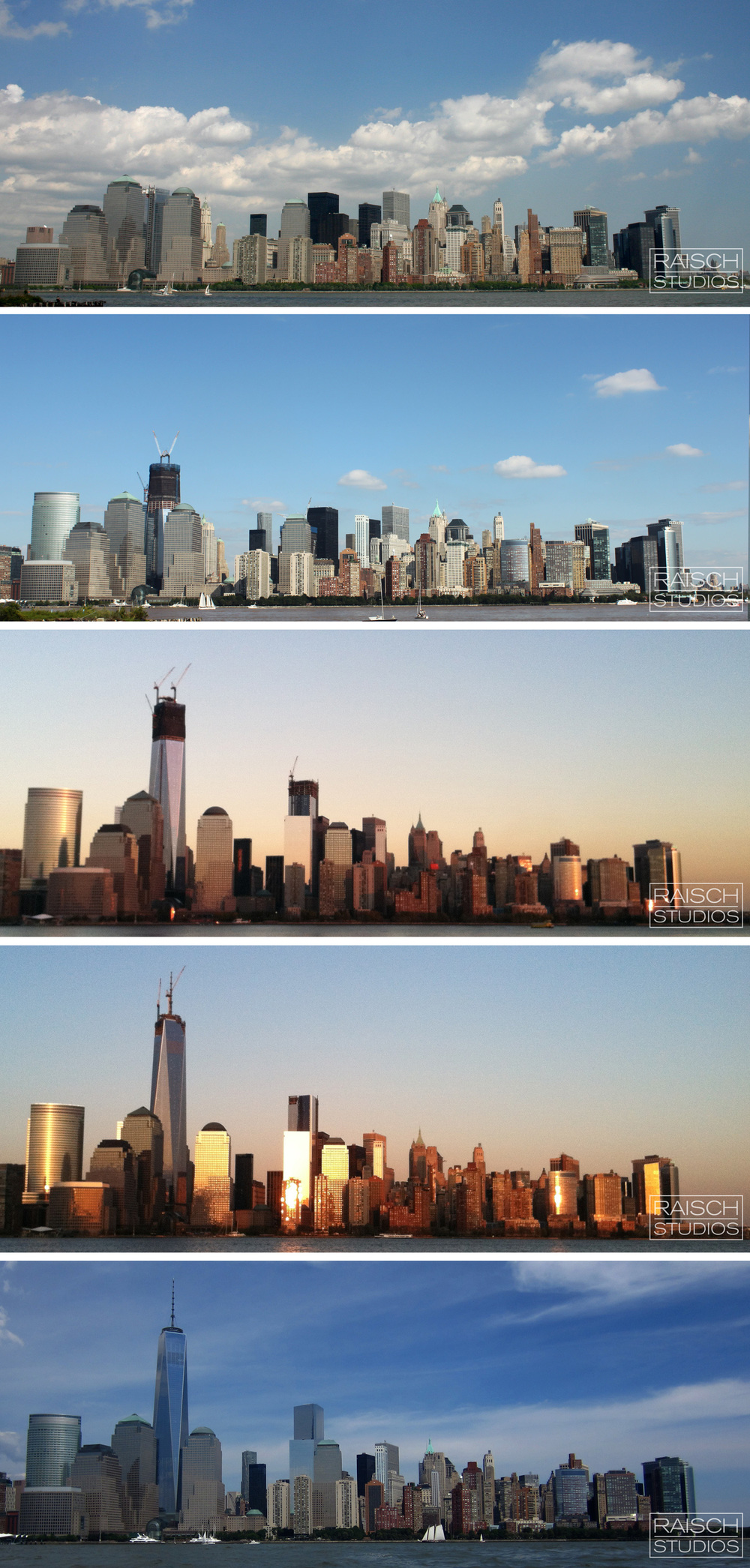 From above: The view of Lower Manhattan from Jersey City and the rise of One World Trade Center 2005-2014 © RaischStudios