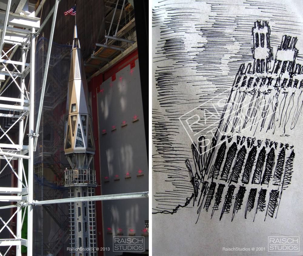 Left: The Spire of One World Trade Center, 2013  -  Right: The ruins of the North Tower, sketched in 2001 © RaischStudios