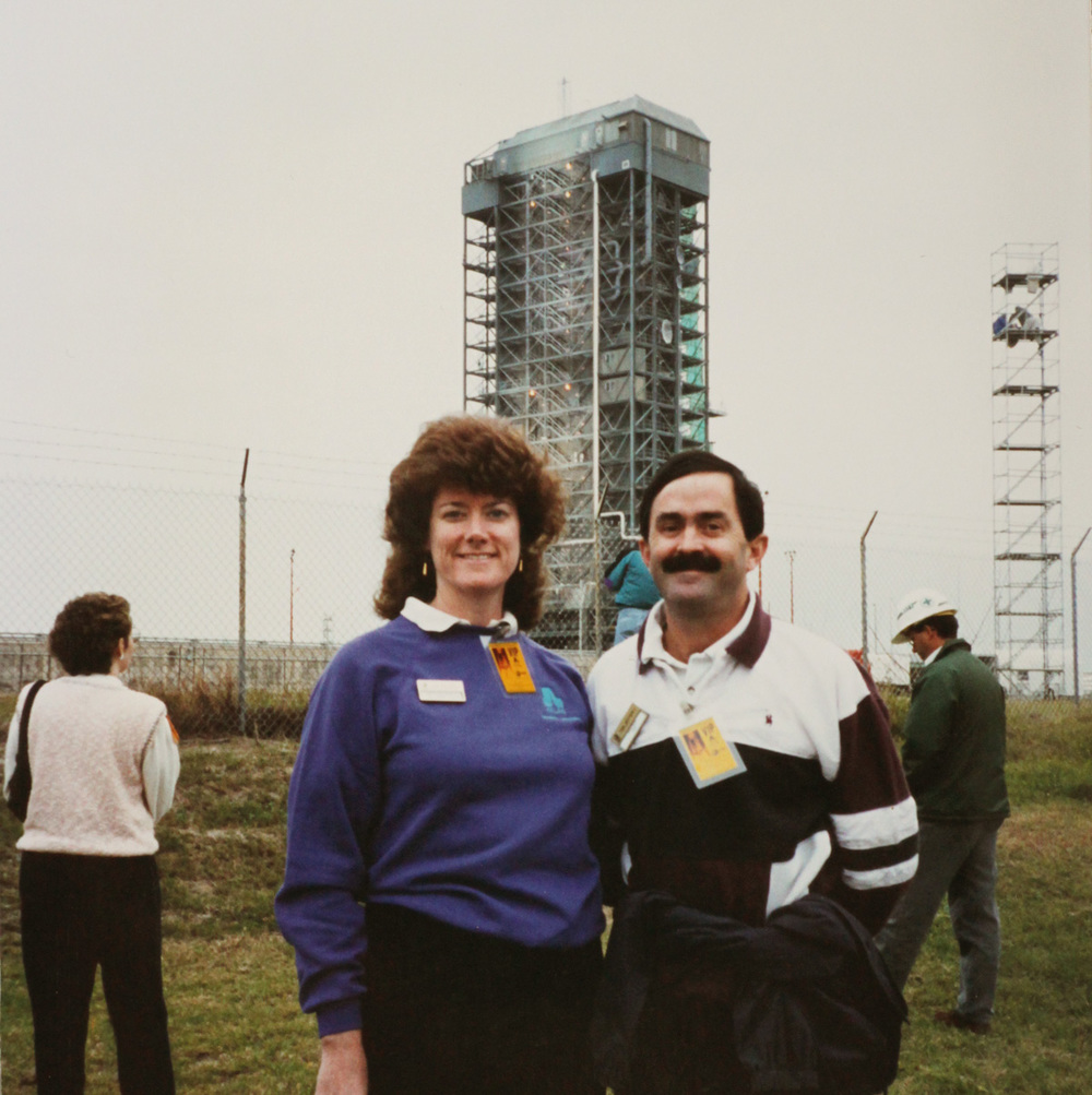 Mom and Dad pictured at the Telstar 4 launch pad.