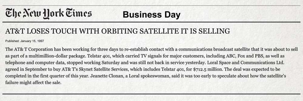 The New York Times 1997 report on the loss of Telstar 4